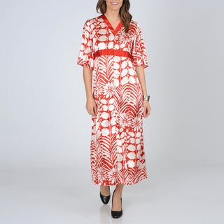 La Cera Women's Red Short Sleeve Satin Lounger