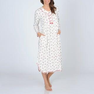 La Cera Women's Ivory Holly Print Henley Night Shirt