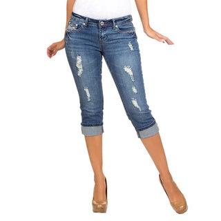 Stanzino Women's Blue Distressed Bermuda Cropped Jeans