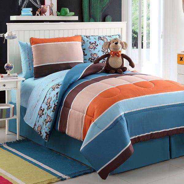 Monkey Reversible 4-piece Comforter Set