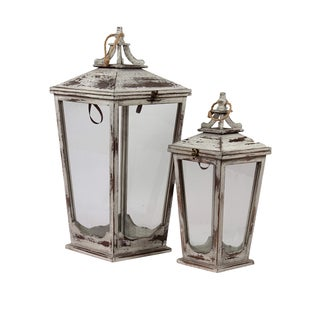 Urban Trends Collection Wooden Lanterns (Set of 2)