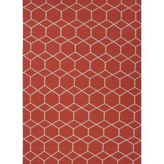 Handmade Flat-weave Geometric Red/ Orange Wool Area Rug (5' x 8')