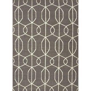 Handmade Flat Weave Geometric Gray/ Black Wool Rug (9' x 12')