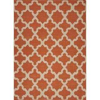 Handmade Flat Weave Geometric Red/ Orange Wool Rug (9' x 12')