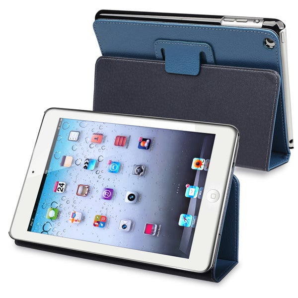 BasAcc Navy Blue Leather Case with Stand for Apple® iPad Mini