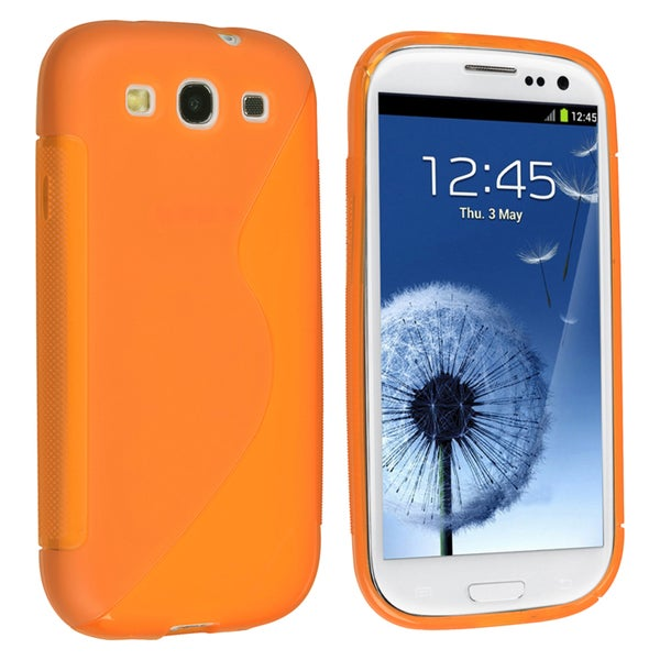INSTEN Orange TPU Rubber Skin Phone Case Cover for Samsung Galaxy S III/ S3