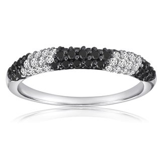 Sterling Silver 1/2ct TDW Black and White Diamond Band
