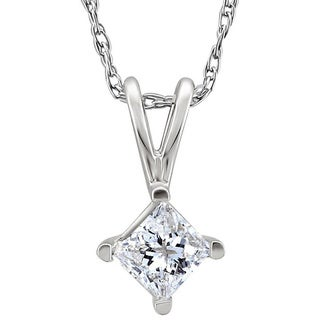 14k White Gold 1/5 to 3/8ct TDW Diamond Solitaire Necklace