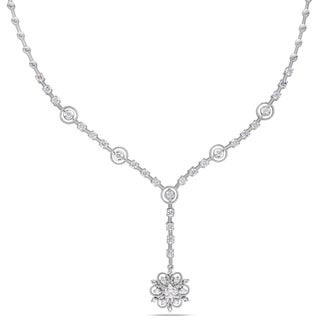 Miadora 14k White Gold 1 4/5ct TDW Diamond Flower Necklace (G-H, SI1-S