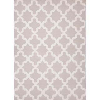 Flat Weave Geometric Gray/ Black Wool Rug (9' x 12')
