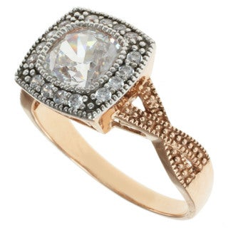 Michael Valitutti Signity 14k Rose Gold Cubic Zircona Ring