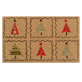 Christmas Trees Coir Door Mat with Vinyl Backing (17 x 29)