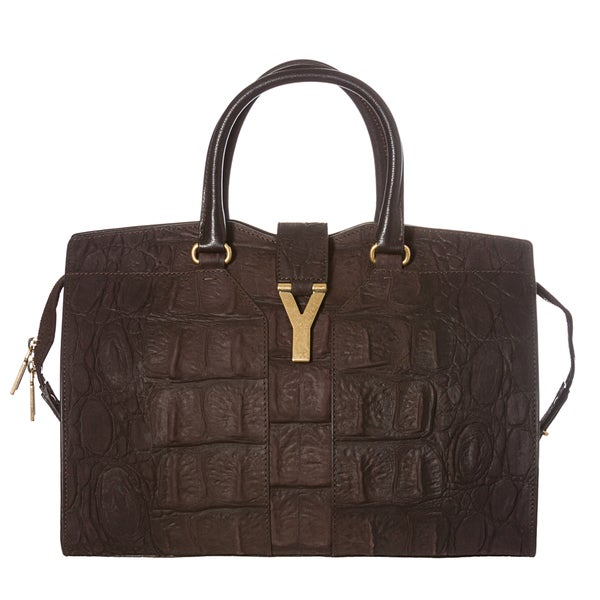 Yves Saint Laurent Women's 'Cabas ChYc ' Brown Textured Leather Tote