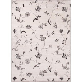 Transitional Floral Gray Wool Tufted Rug (9'6 x 13'6)