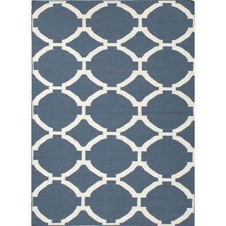 Flat Weave Geometric Blue 100-percent Wool Rug (9' x 12')