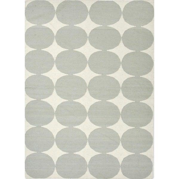 Flat-Weave Contemporary Geometric Blue Wool Rug (9' x 12')