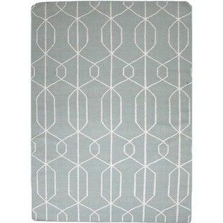 Flat-Weave Geometric Blue Indoor Wool Rug (9' x 12')