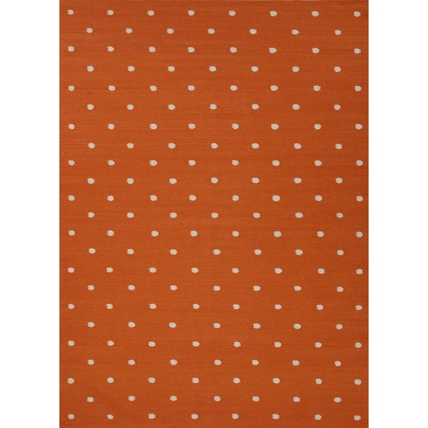 Flat Weave Geometric Orange Wool Rug (5' x 8')