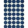 Flat-Weave Geometric Blue Wool Geometric Rug (8' x 10')
