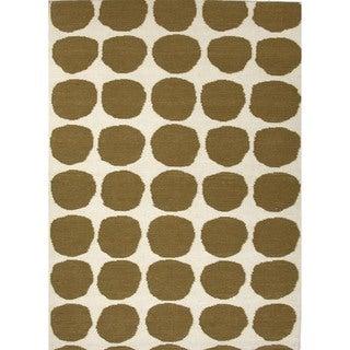 Antique White/ Green Geometric Flat-weave Wool Rug (9' x 12')