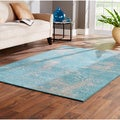 Indoor Teal/ Beige Area Rug