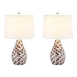 Safavieh Indoor 1-light Mother of Pearl Brown Table Lamps (Set of 2)