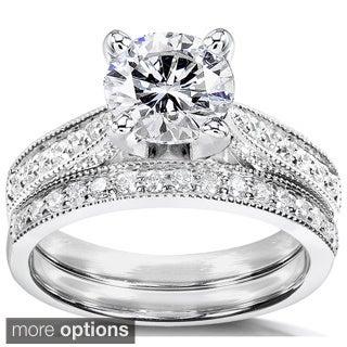 Annello 14k White Gold Moissanite and 1/3ct TDW Round-cut Diamond Bridal Ring Set (G-H, I1-I2)