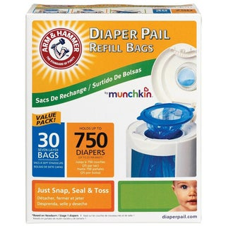 Munchkin Arm & Hammer Diaper Pail Bag Refills (Case of 30)