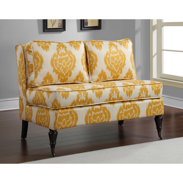 Cassidy French Yellow Cream Ikat Loveseat Overstock Shopping Great Deals On Sofas Loveseats