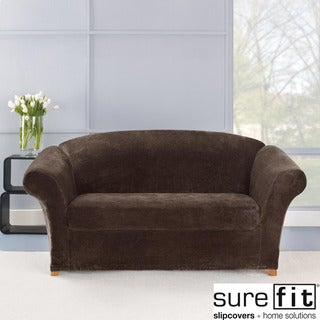 Stretch Plush Chocolate Loveseat Slipcover