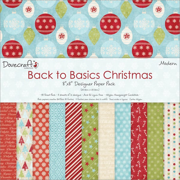 """Back To Basics Christmas Paper Pack 8""""X8"""" 48 Sheets-Modern - 12 Designs/4 Each"""