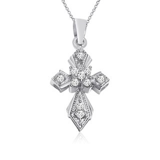 10k White Gold 1/10ct TDW Round Diamond Cross Necklace (I-J, I1-I2)