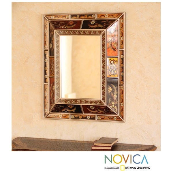 Reverse-painted Glass 'Warmth of the Earth' Mirror (Peru)