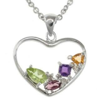 Michael Valitutti Sterling Silver Multi-gemsone and Diamond Necklace