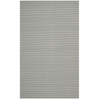 Safavieh Hand-woven Moroccan Reversible Dhurrie Stripes Reversible Dhurrie Grey Wool Rug