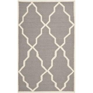Safavieh Handwoven Moroccan Reversible Dhurrie Grey Wool Rug