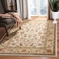 Oushak Cream/ Green Powerloomed Rug