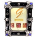 Cristiani Rectangular Enameled Pewter and Crystal Frame