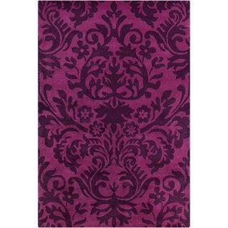 Allie Handmade Floral Purple Wool Rug (5' x 7'6)