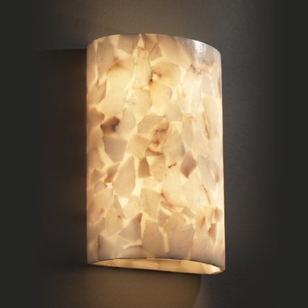 Justice Design Group 2-light Cylinder Natural Alabaster Rocks Wall Sconce