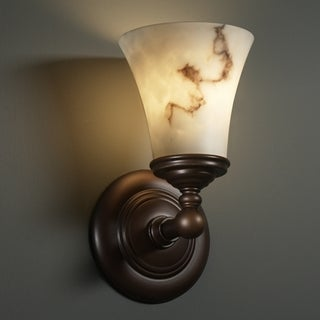 Justice Design Group 1-light Round Flared Dark Bronze with Faux Alabaster Wall Sconce