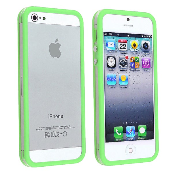 INSTEN Clear/ Green TPU Bumper Phone Case Cover with Aluminum for Apple iPhone 5/ 5S