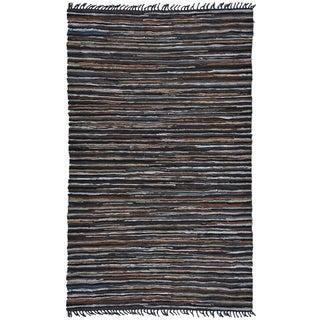 Hand Woven Matador Brown Stripe Leather Rug (5' x 8')