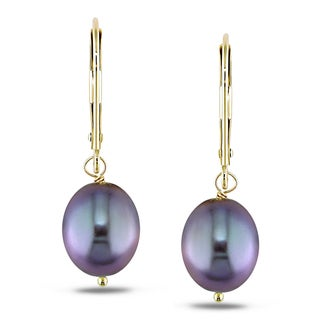 Miadora 14k Yellow Gold Black Cultured Freshwater Pearl Dangle Earrings (8-9 mm)