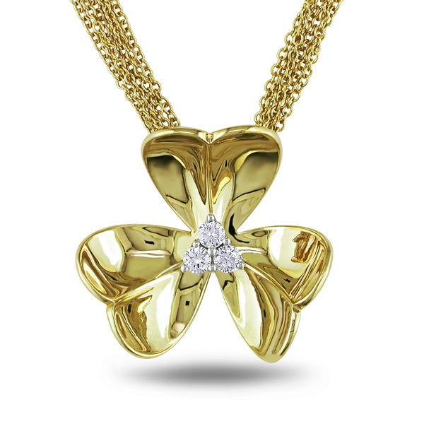 Miadora Signature Collection Miadora 14k Yellow Gold 1/5ct TDW Diamond Flower Necklace (G-H, SI1-SI2)