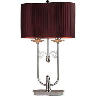 Cliona Fabric 2-light Chrome Table Lamp