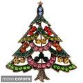 Goldtone Multicolored Swarovski Crystal Christmas Tree Brooch