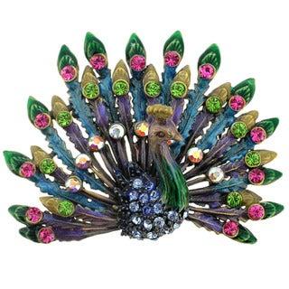 Goldtone Multi-colored Crystal Peacock Brooch