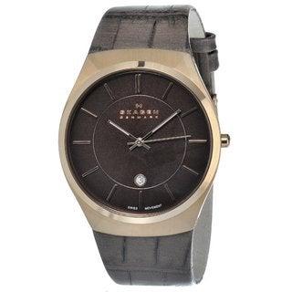 Skagen Men's Rose Goldtone Leather Strap Watch