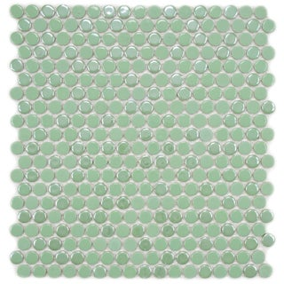 SomerTile 11.25x12-in Posh Penny Round Capri Porcelain Mosaic Tile (Pack of 10)